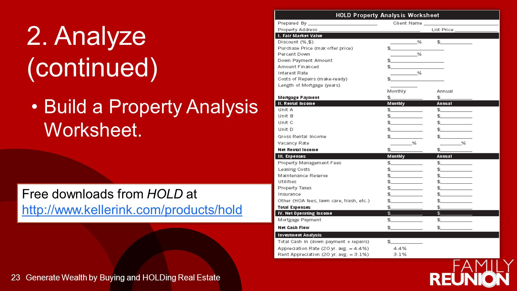 2. Analyze (continued) Build a Property Analysis Worksheet. 23 Free downloads from HOLD at http://www.kellerink.com/products/hold http://www.kellerink