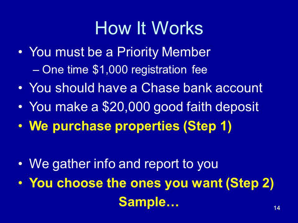 How It Works You must be a Priority Member –One time $1,000 registration fee You should have a Chase bank account You make a $20,000 good faith deposi