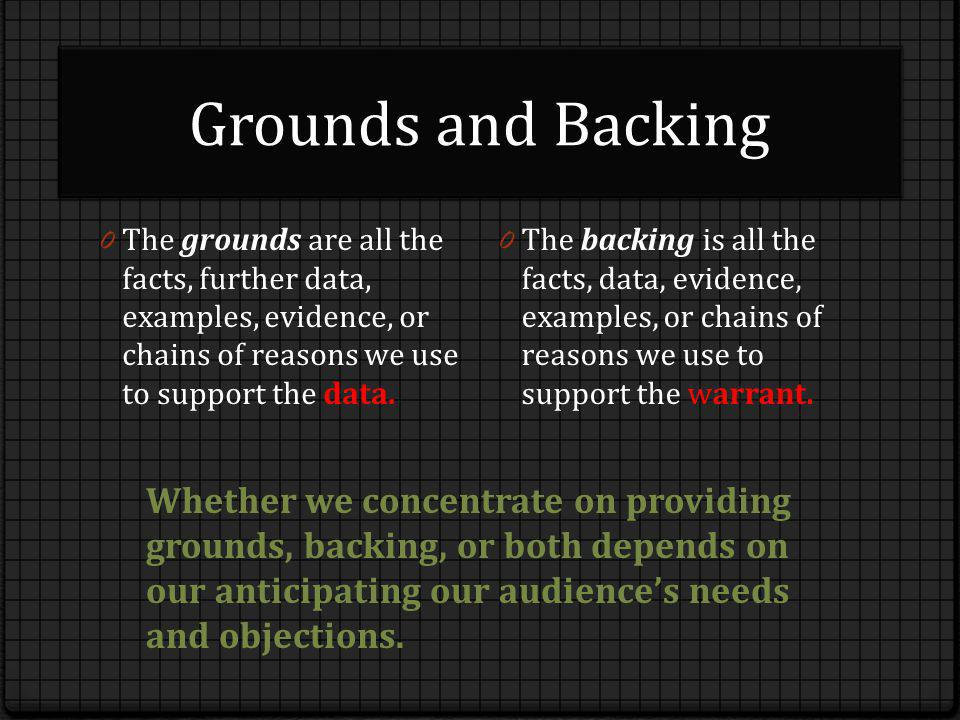 Grounds and Backing 0 The grounds are all the facts, further data, examples, evidence, or chains of reasons we use to support the data. 0 The backing