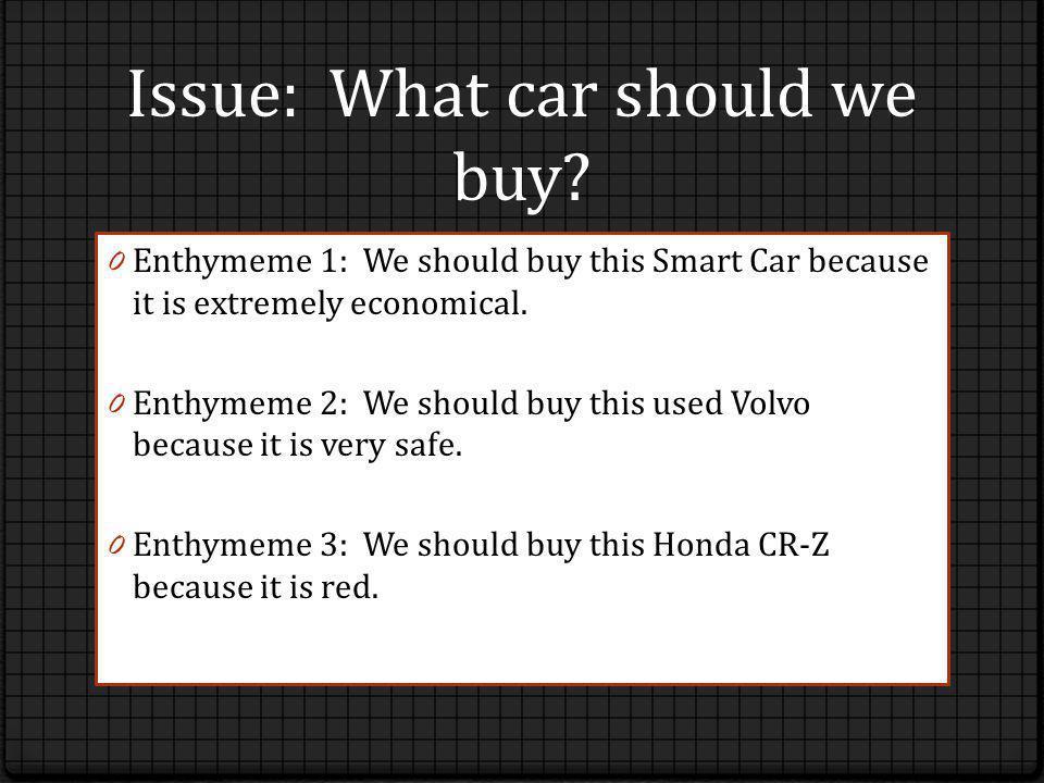Syllogism: We should buy an economical car.
