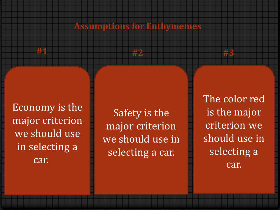Economy is the major criterion we should use in selecting a car. Safety is the major criterion we should use in selecting a car. The color red is the