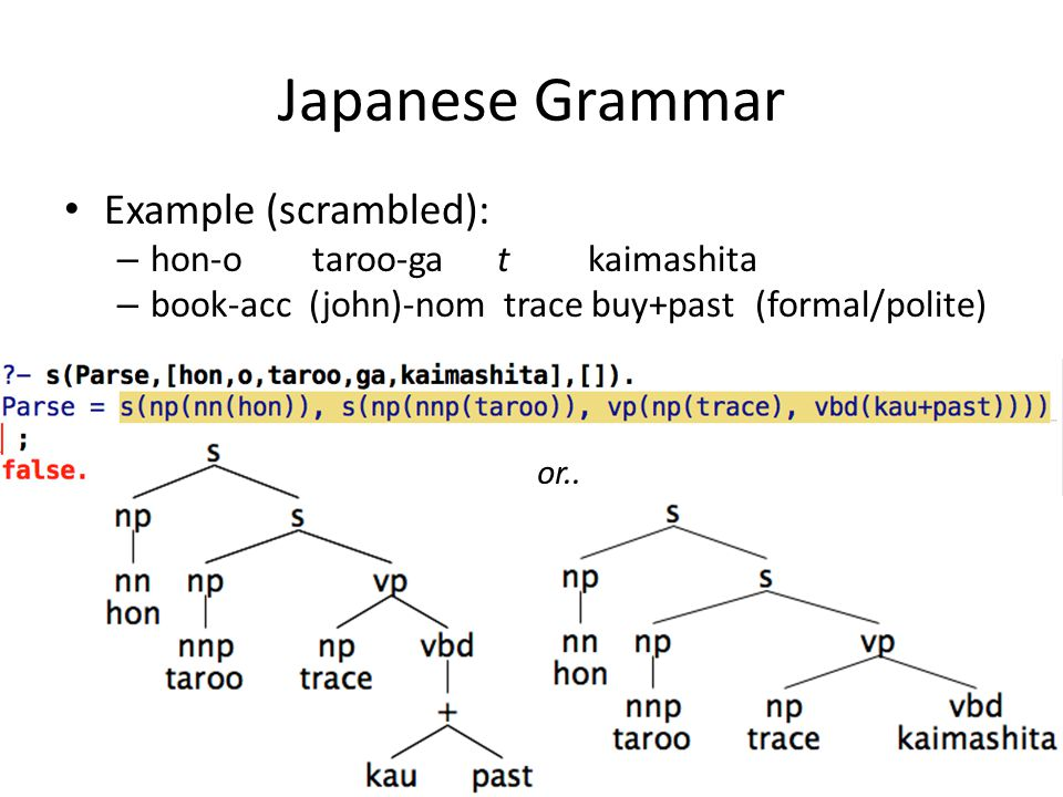 Japanese Grammar Example (scrambled): – hon-o taroo-ga t kaimashita – book-acc (john)-nom trace buy+past (formal/polite) or..