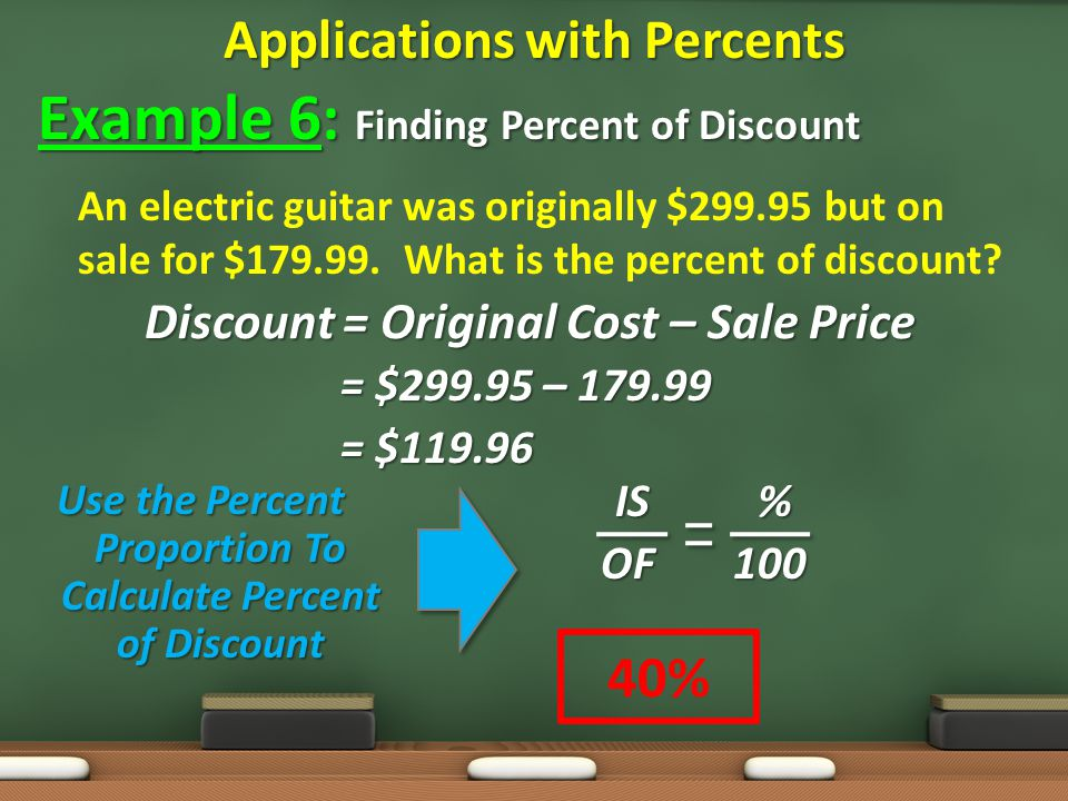 Applications with Percents Example 6: Finding Percent of Discount An electric guitar was originally $ but on sale for $