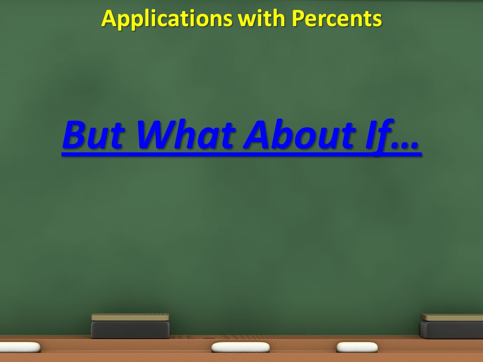 But What About If… Applications with Percents