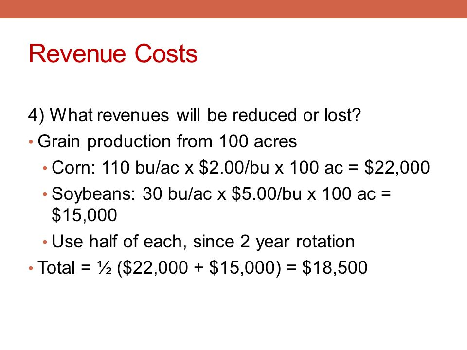 Revenue Costs 4) What revenues will be reduced or lost? Grain production from 100 acres Corn: 110 bu/ac x $2.00/bu x 100 ac = $22,000 Soybeans: 30 bu/