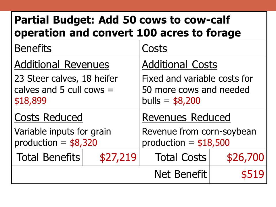 Partial Budget: Add 50 cows to cow-calf operation and convert 100 acres to forage BenefitsCosts Additional Revenues 23 Steer calves, 18 heifer calves