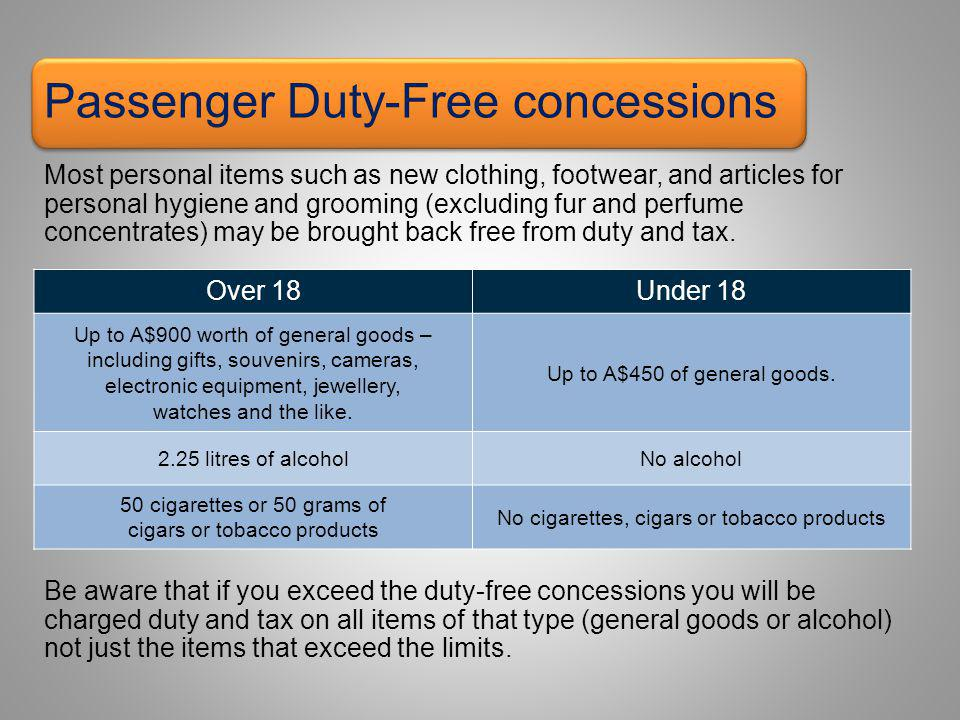 Passenger Duty-Free concessions Most personal items such as new clothing, footwear, and articles for personal hygiene and grooming (excluding fur and perfume concentrates) may be brought back free from duty and tax.