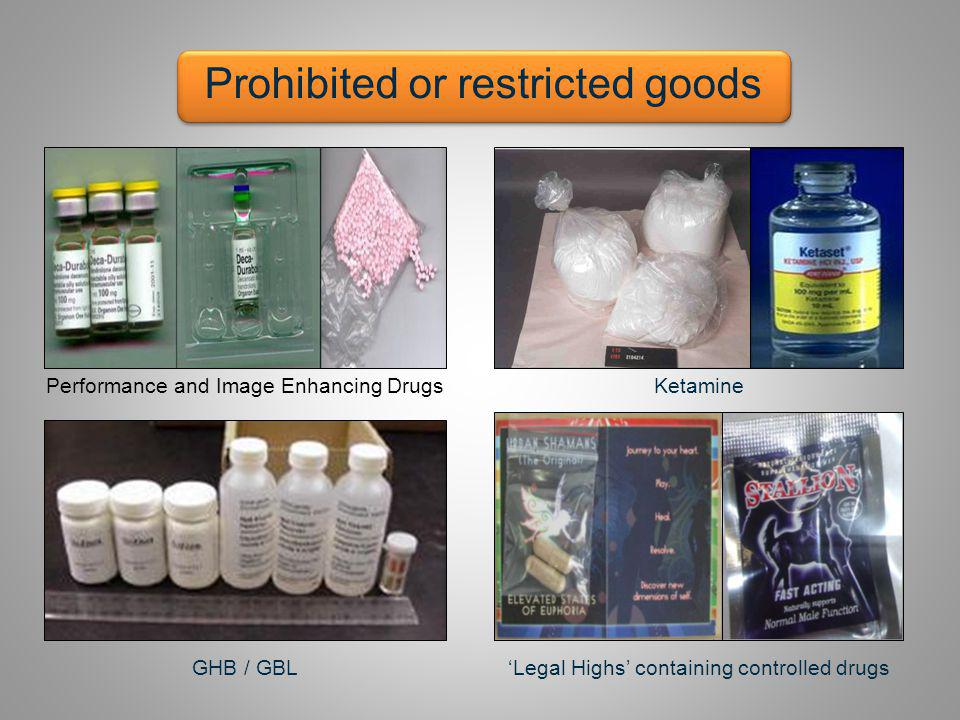 Ketamine Prohibited or restricted goods GHB / GBLLegal Highs containing controlled drugs Performance and Image Enhancing Drugs