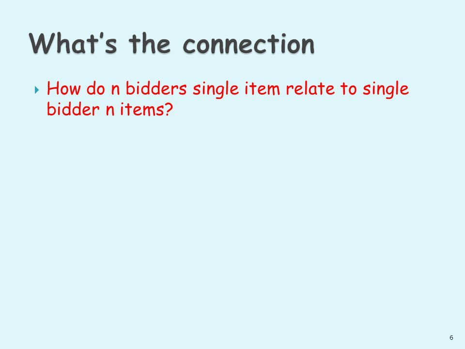 How do n bidders single item relate to single bidder n items? 6
