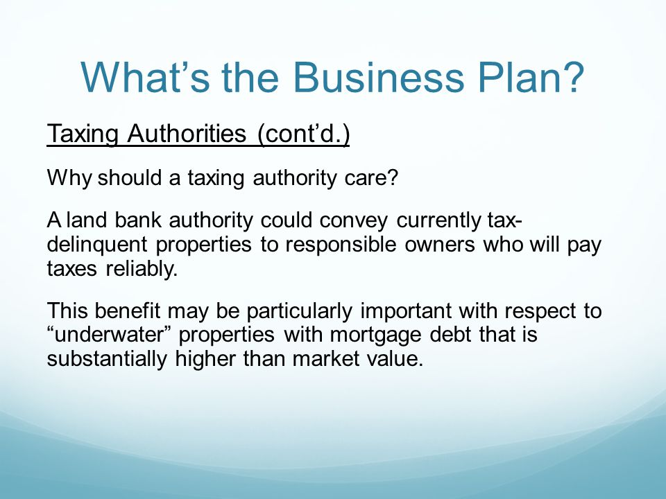 Whats the Business Plan. Taxing Authorities (contd.) Why should a taxing authority care.