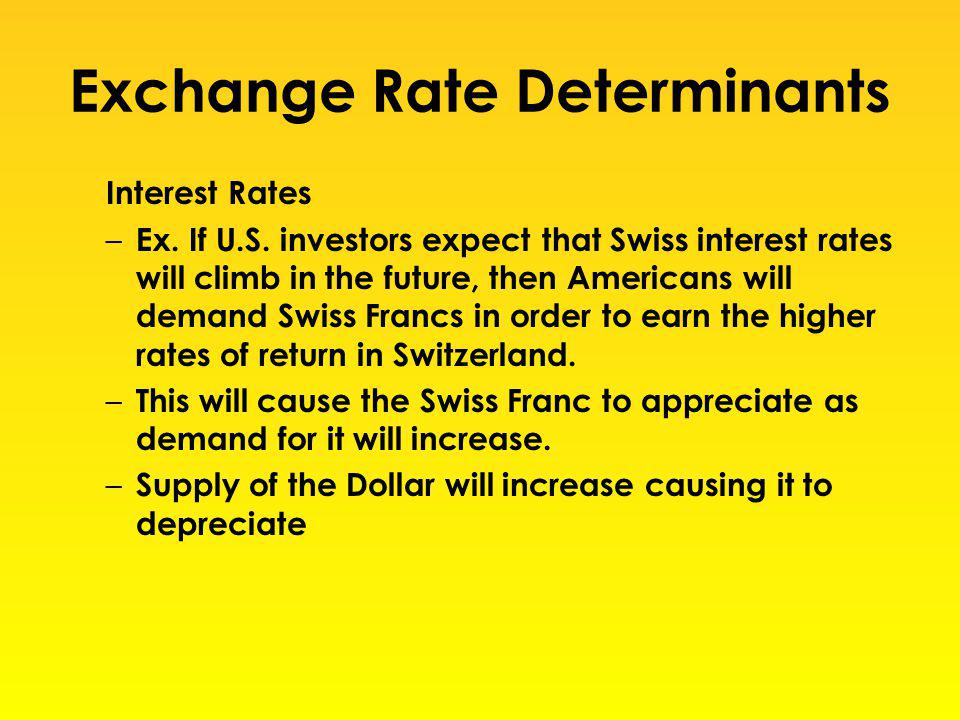 Exchange Rate Determinants Interest Rates – Ex. If U.S. investors expect that Swiss interest rates will climb in the future, then Americans will deman