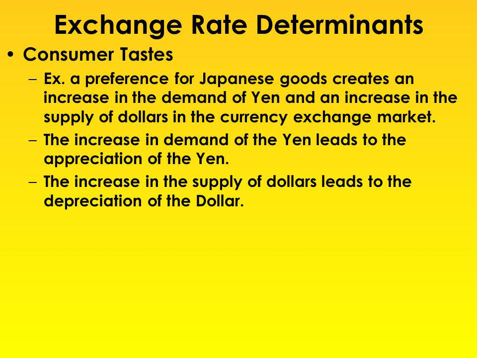 Exchange Rate Determinants Consumer Tastes – Ex. a preference for Japanese goods creates an increase in the demand of Yen and an increase in the suppl