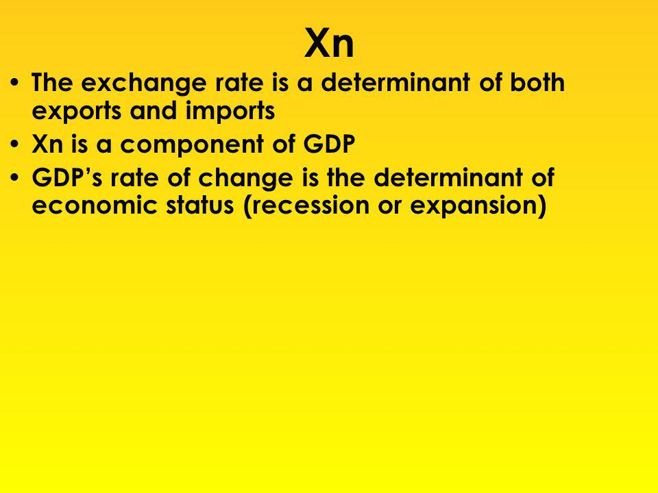 Xn The exchange rate is a determinant of both exports and imports Xn is a component of GDP GDPs rate of change is the determinant of economic status (