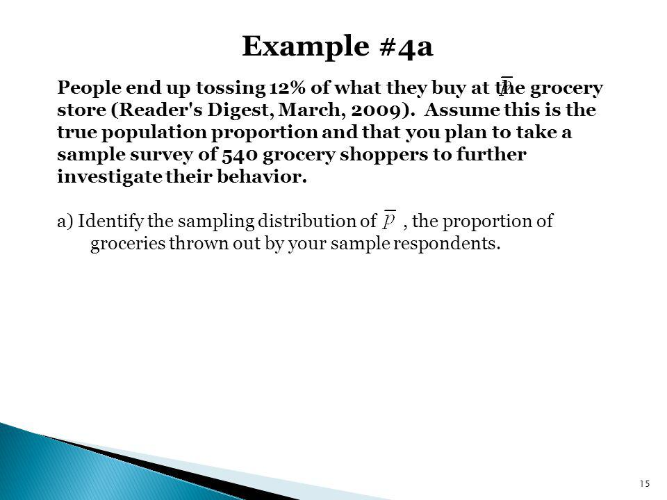 Example #4a People end up tossing 12% of what they buy at the grocery store (Reader's Digest, March, 2009). Assume this is the true population proport