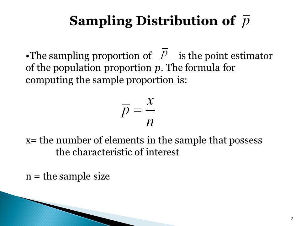Sampling Distribution of The sampling distribution of is the probability distribution of all possible values of the sample proportion.