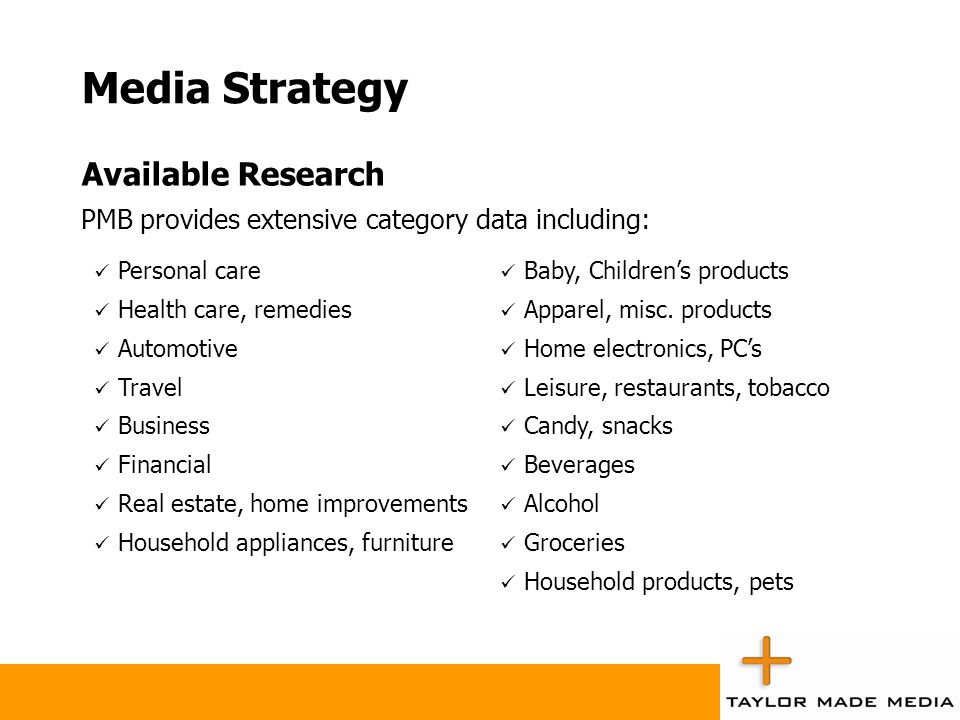 Media Strategy Available Research PMB provides extensive category data including: Personal care Health care, remedies Automotive Travel Business Finan