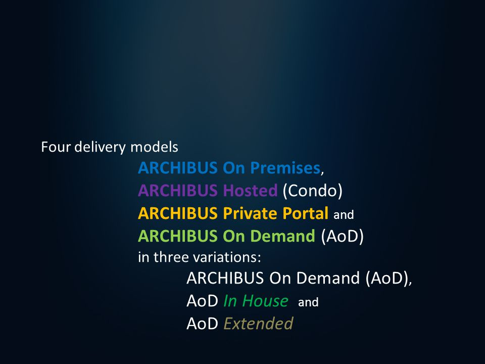 Four delivery models ARCHIBUS On Premises, ARCHIBUS Hosted (Condo) ARCHIBUS Private Portal and ARCHIBUS On Demand (AoD) in three variations: ARCHIBUS On Demand (AoD), AoD In House and AoD Extended