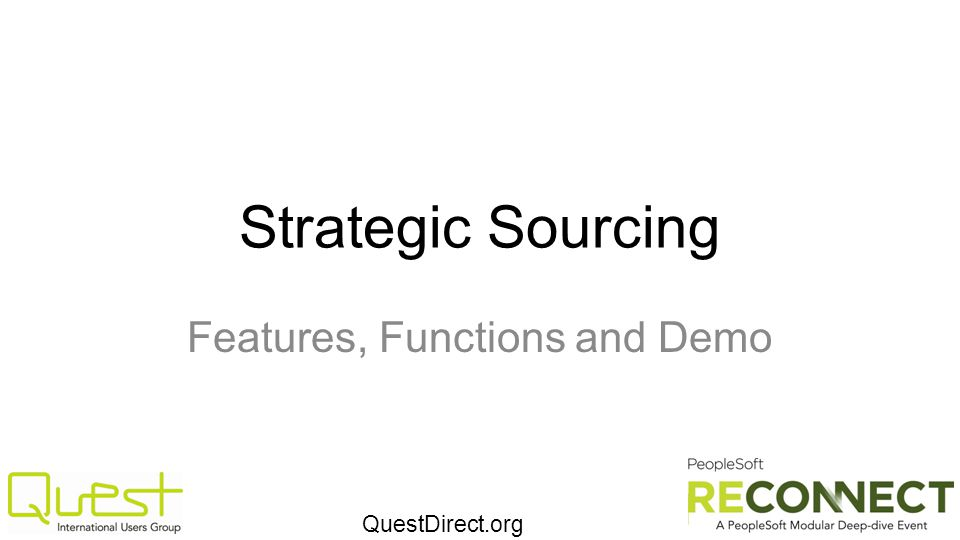 QuestDirect.org Strategic Sourcing Features, Functions and Demo