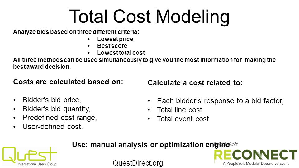 QuestDirect.org Total Cost Modeling Analyze bids based on three different criteria: Lowest price Best score Lowest total cost All three methods can be