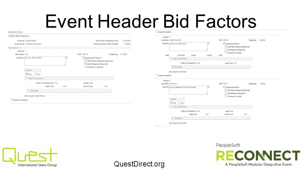 QuestDirect.org Event Header Bid Factors