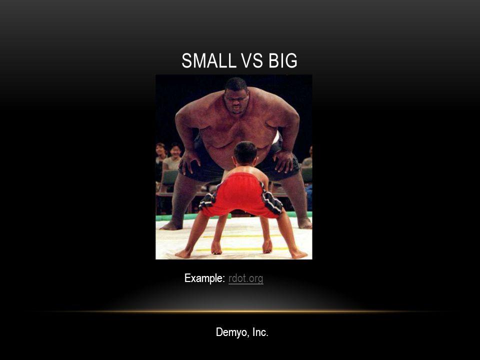 SMALL VS BIG Demyo, Inc. Example: rdot.orgrdot.org