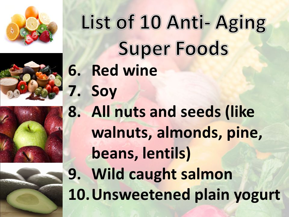 1.Açai (Ah sah hee) Berry 2.Barley 3.Broccoli 4.Cold pressed Extra Virgin Olive Oil (EVOO) 5.Garlic