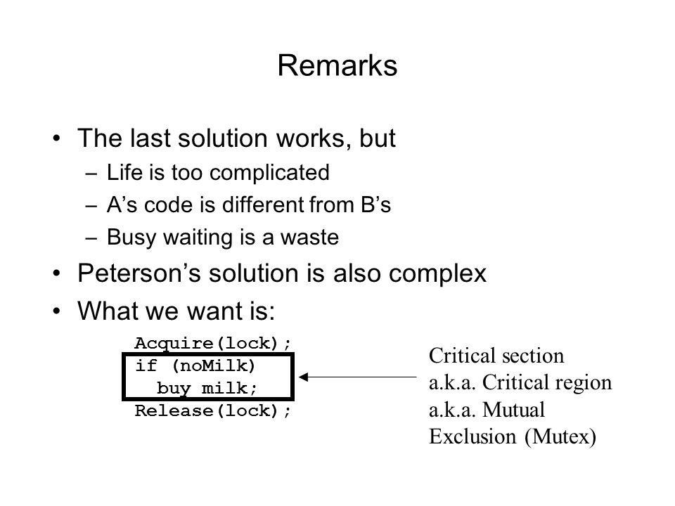 Remarks The last solution works, but –Life is too complicated –As code is different from Bs –Busy waiting is a waste Petersons solution is also comple