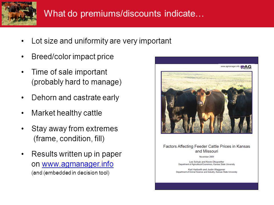 Lot size and uniformity are very important Breed/color impact price Time of sale important (probably hard to manage) Dehorn and castrate early Market