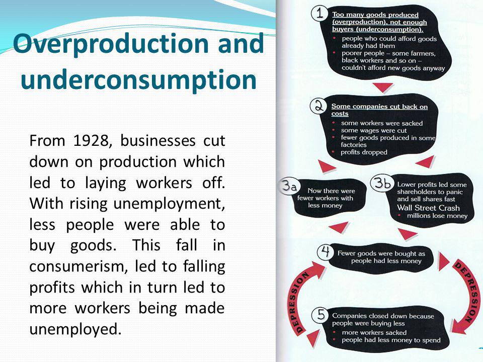 Overproduction and underconsumption From 1928, businesses cut down on production which led to laying workers off. With rising unemployment, less peopl