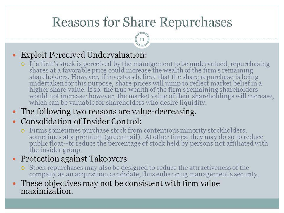 11 Exploit Perceived Undervaluation: If a firm's stock is perceived by the management to be undervalued, repurchasing shares at a favorable price coul