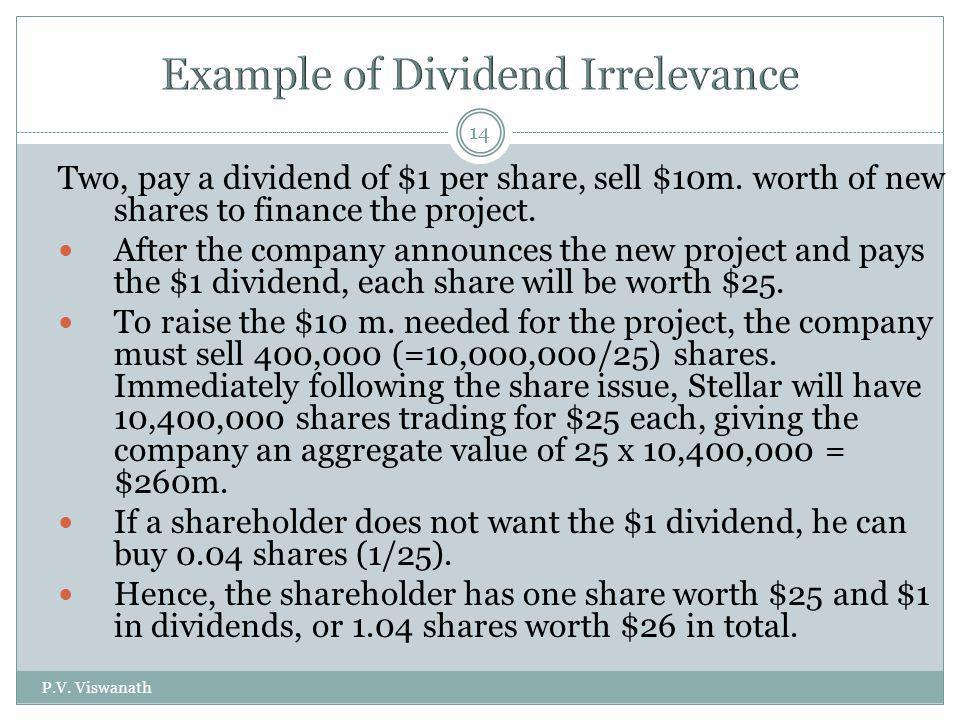 P.V. Viswanath 14 Two, pay a dividend of $1 per share, sell $10m. worth of new shares to finance the project. After the company announces the new proj