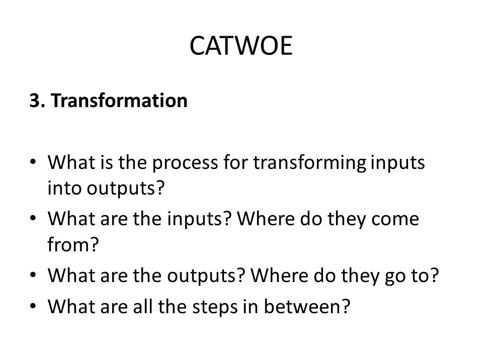 CATWOE 3. Transformation What is the process for transforming inputs into outputs.