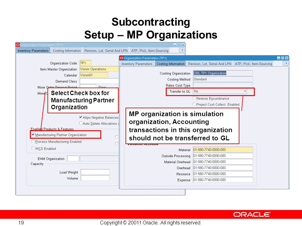 Copyright © 20011 Oracle. All rights reserved. 19 Subcontracting Setup – MP Organizations Select Check box for Manufacturing Partner Organization MP o