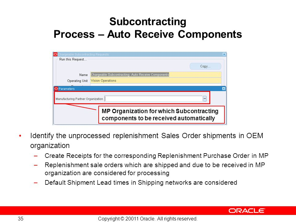 Copyright © 20011 Oracle. All rights reserved. 35 Subcontracting Process – Auto Receive Components MP Organization for which Subcontracting components