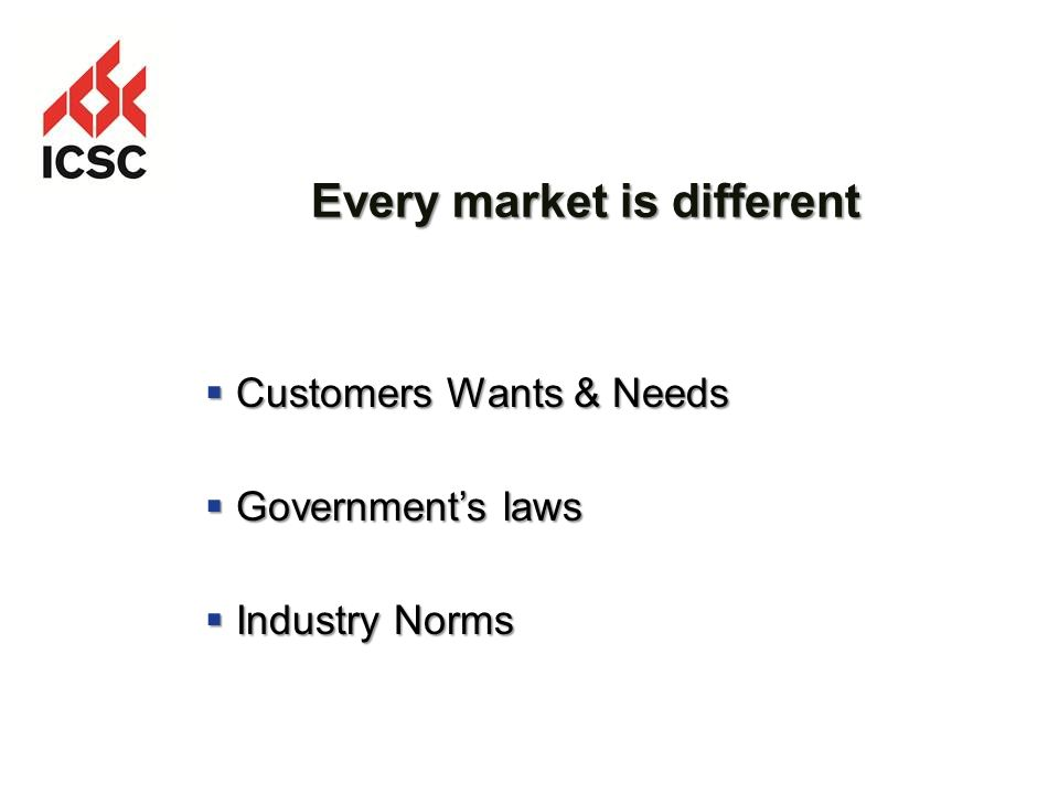 Every market is different Customers Wants & Needs Customers Wants & Needs Governments laws Governments laws Industry Norms Industry Norms
