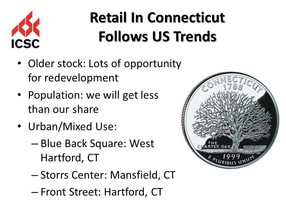 Retail In Connecticut Follows US Trends Older stock: Lots of opportunity for redevelopment Population: we will get less than our share Urban/Mixed Use: – Blue Back Square: West Hartford, CT – Storrs Center: Mansfield, CT – Front Street: Hartford, CT