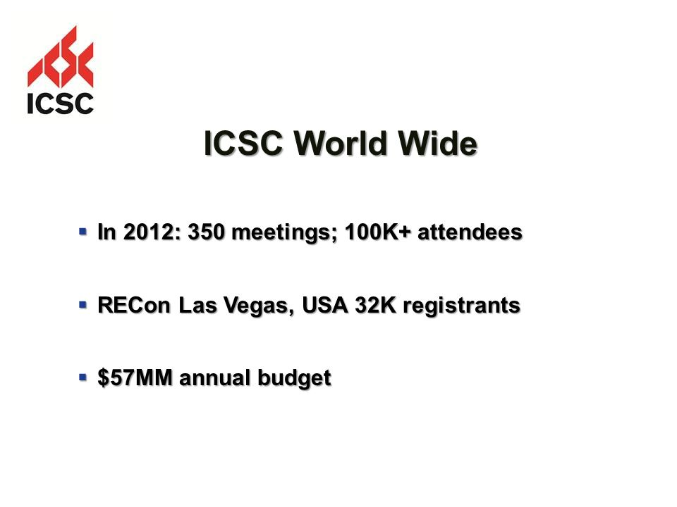 ICSC World Wide In 2012: 350 meetings; 100K+ attendees In 2012: 350 meetings; 100K+ attendees RECon Las Vegas, USA 32K registrants RECon Las Vegas, USA 32K registrants $57MM annual budget $57MM annual budget