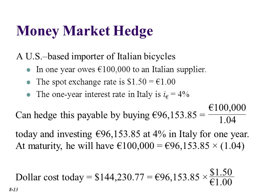 Money Market Hedge A U.S.–based importer of Italian bicycles In one year owes 100,000 to an Italian supplier.