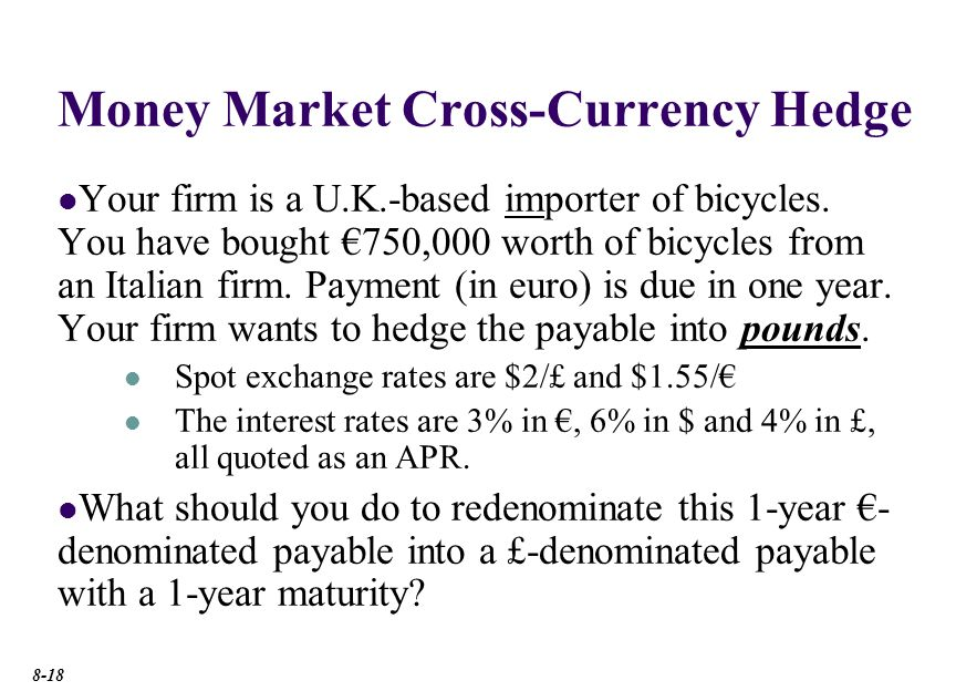 Money Market Cross-Currency Hedge Your firm is a U.K.-based importer of bicycles.