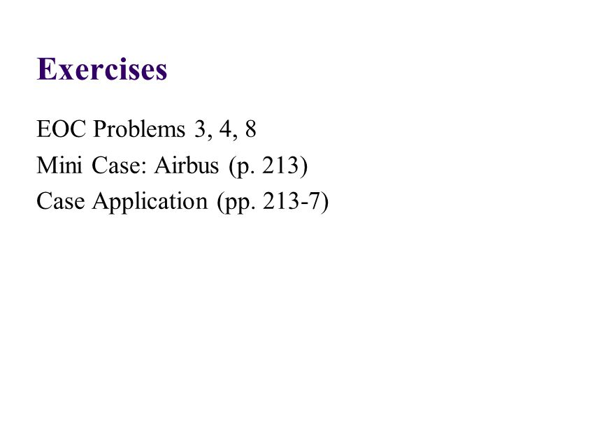 Exercises EOC Problems 3, 4, 8 Mini Case: Airbus (p. 213) Case Application (pp. 213-7)