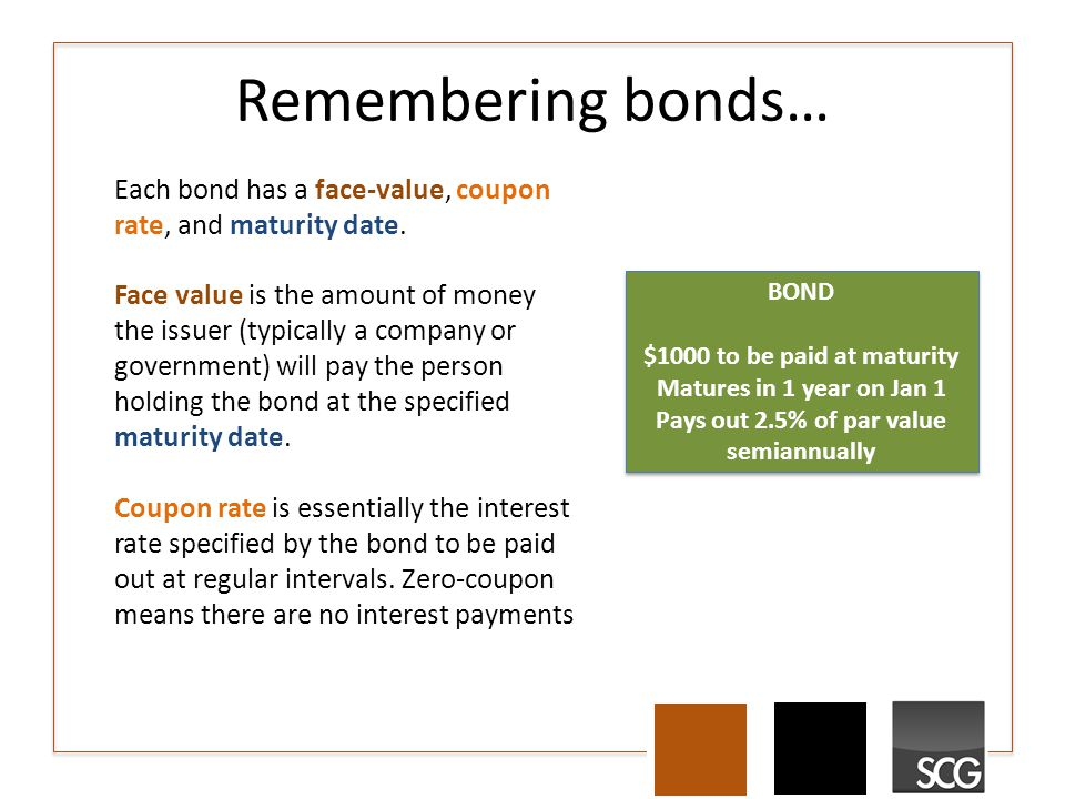 Remembering bonds… Each bond has a face-value, coupon rate, and maturity date. Face value is the amount of money the issuer (typically a company or go
