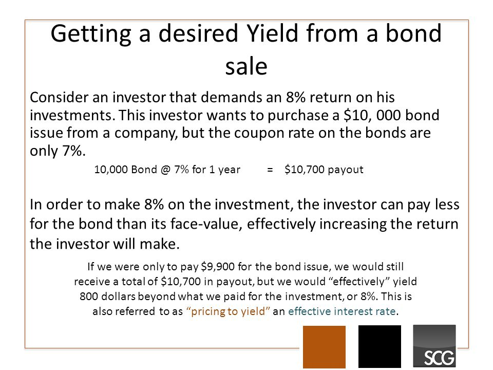 Getting a desired Yield from a bond sale Consider an investor that demands an 8% return on his investments. This investor wants to purchase a $10, 000