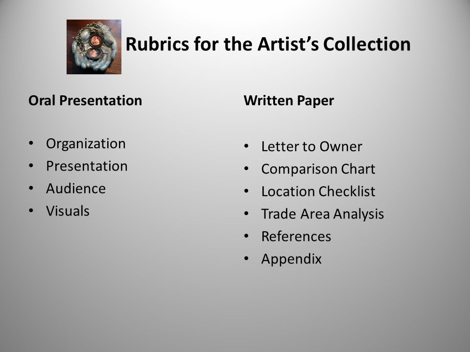 Rubrics for the Artists Collection Oral Presentation Organization Presentation Audience Visuals Written Paper Letter to Owner Comparison Chart Location Checklist Trade Area Analysis References Appendix 42