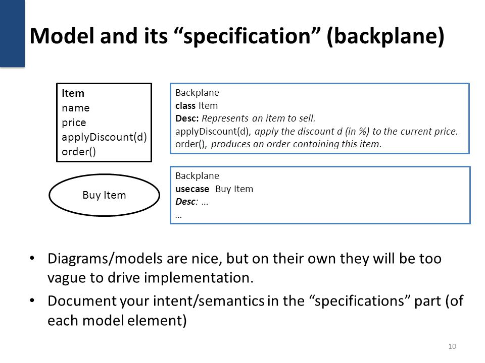 Model and its specification (backplane) Diagrams/models are nice, but on their own they will be too vague to drive implementation. Document your inten