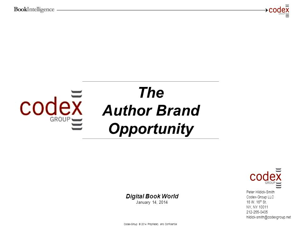 Codex-Group © 2014 Proprietary and Confidential 22 Author Brand Growth Opportunity