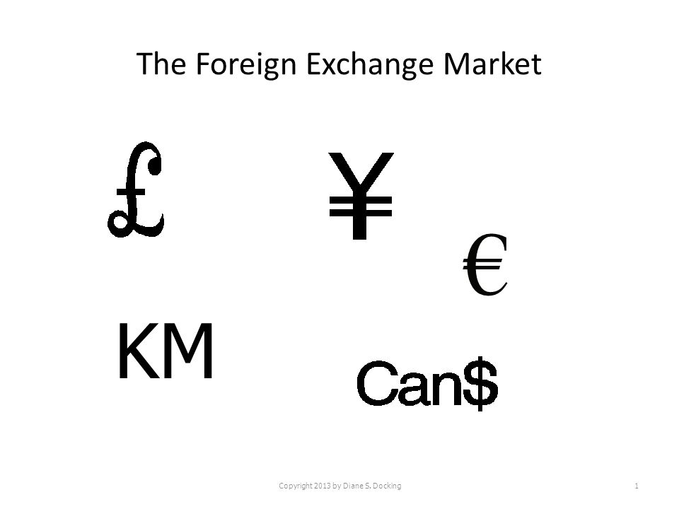 The Foreign Exchange Market Copyright 2013 by Diane S. Docking1 KM