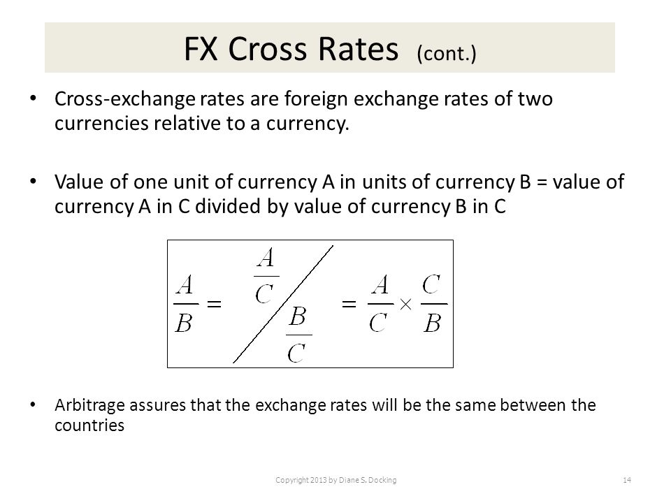 FX Cross Rates (cont.) Cross-exchange rates are foreign exchange rates of two currencies relative to a currency.