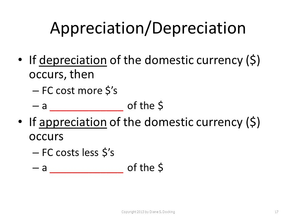 Appreciation/Depreciation If depreciation of the domestic currency ($) occurs, then – FC cost more $s – a _____________ of the $ If appreciation of the domestic currency ($) occurs – FC costs less $s – a _____________ of the $ Copyright 2013 by Diane S.