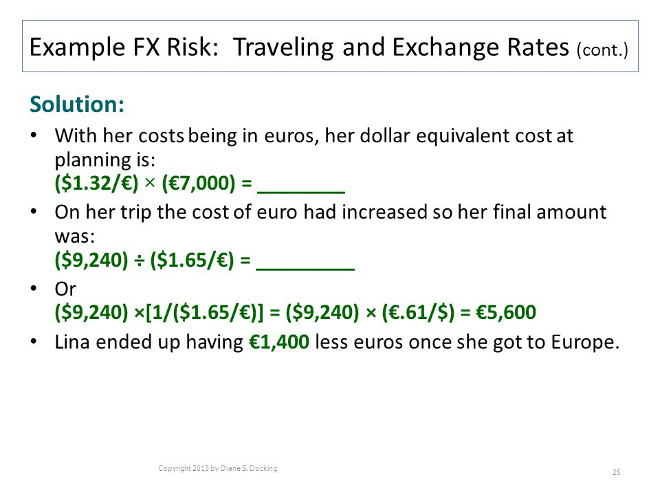 Solution: With her costs being in euros, her dollar equivalent cost at planning is: ($1.32/) × (7,000) = ________ On her trip the cost of euro had inc