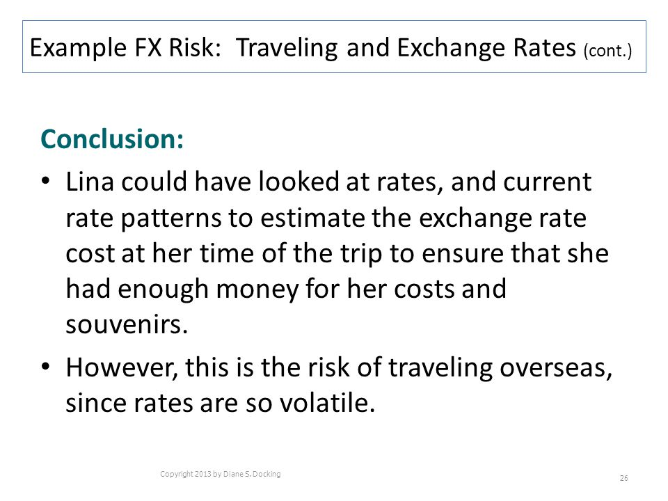 Conclusion: Lina could have looked at rates, and current rate patterns to estimate the exchange rate cost at her time of the trip to ensure that she h